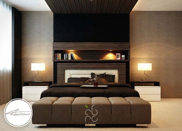 اتاق خواب مدرن با رنگ بندی تیره -اتاق خواب آرامش بخش