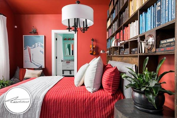 رنگ بندی گرم و استفاده از کتابخانه - دکوراسیون داخلی مدرن
