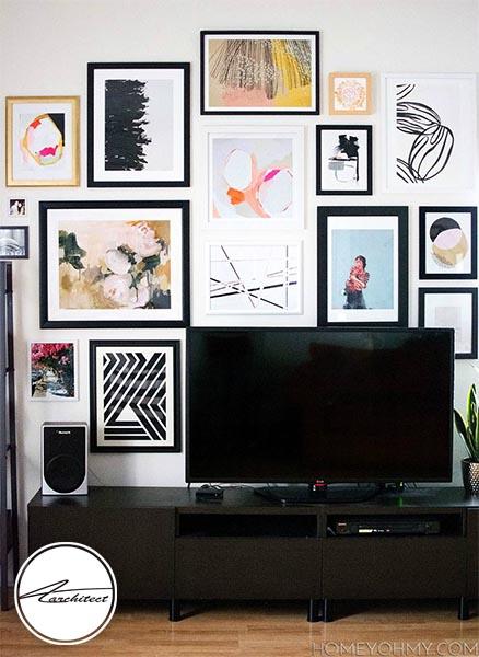 نمایشگاه تابلوهای مورد علاقه شما روی دیوار-دکوراسیون اطراف تلویزیون