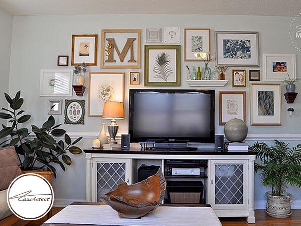نصب چراغ های تزئینی روی دیوار-دکوراسیون اطراف تلویزیون