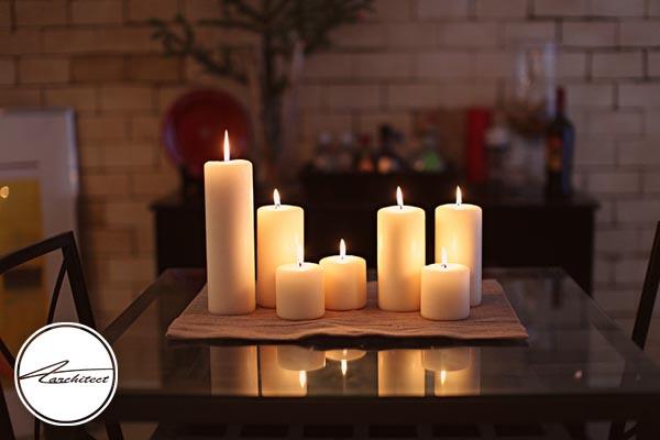طراحی دکوراسیون با شمع