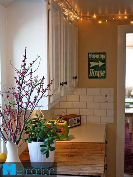 استفاده از چراغ های چشمک زن-کابینت در دکوراسیون آشپزخانه