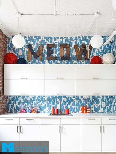 آشپزخانه فانتزی با پس زمینه گربه-کابینت در دکوراسیون آشپزخانه