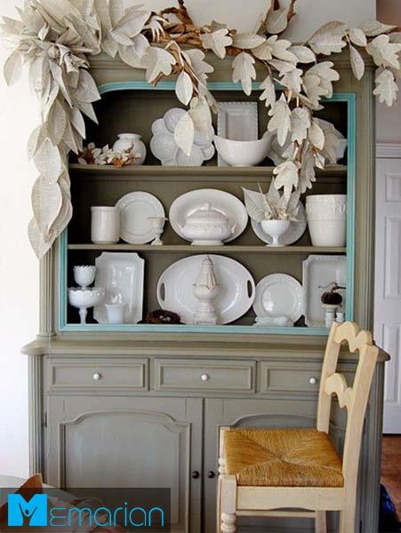 استفاده از گلبرگ های کاغذی-کابینت در دکوراسیون آشپزخانه