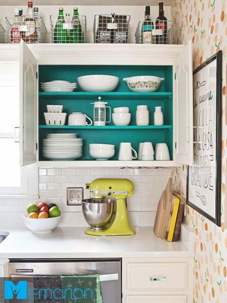 گذاشتن سبد روی کابینت ها-کابینت در دکوراسیون آشپزخانه