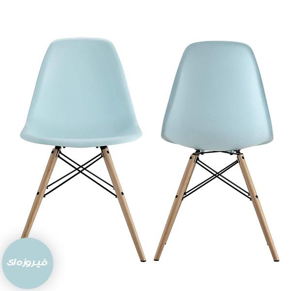 صندلی پلاستیکی با پایه چوبی