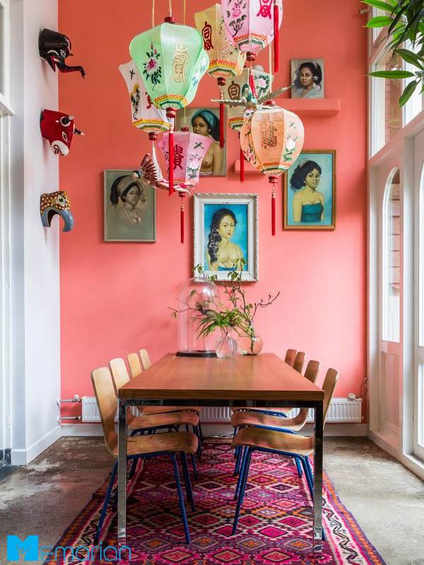 رنگ مرجانی در اتاق ناهارخوری