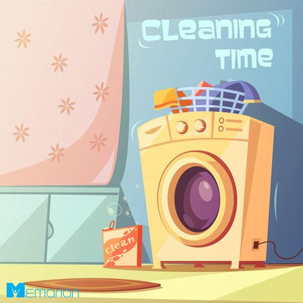 ماشین لباس شویی در خانه تکانی