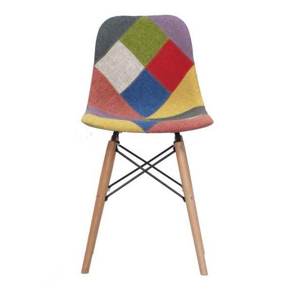 صندلی مدرن پارچه ای با پایه های چوبی بدون دسته کد SM201