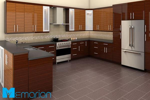 کابینت مدرن های گلاس در آشپزخانه