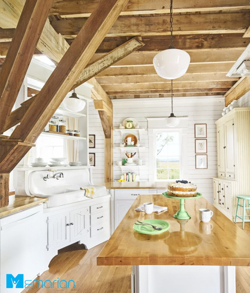 نورپردازی شیشه شیری آشپزخانه