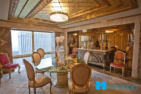 میز دورهمی و فضای گپ دکوراسیون خانه ترامپ
