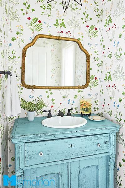 کاغذ دیواری حمام طرح گَرد شکوفه روشن