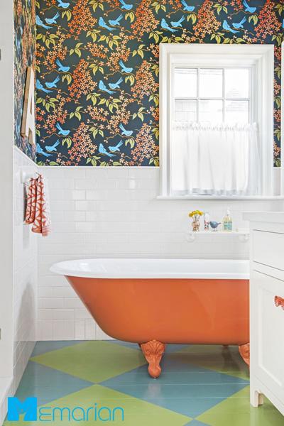 کاغذ دیواری حمام با طراحی روشن و شاد
