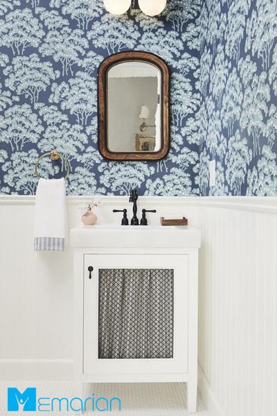 کاغذ دیواری حمام طرح آبی در آبی پیچیده