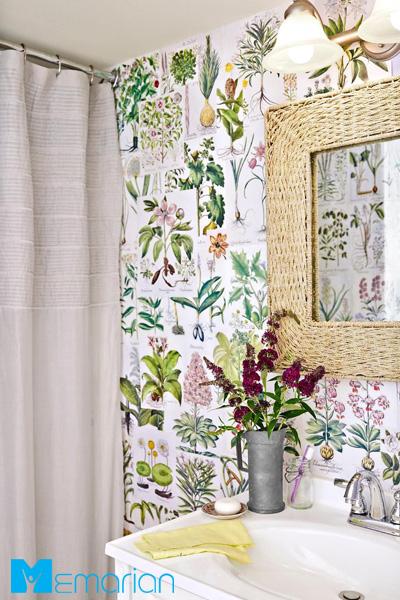 کاغذ دیواری حمام مدرن گیاهی دست ساز