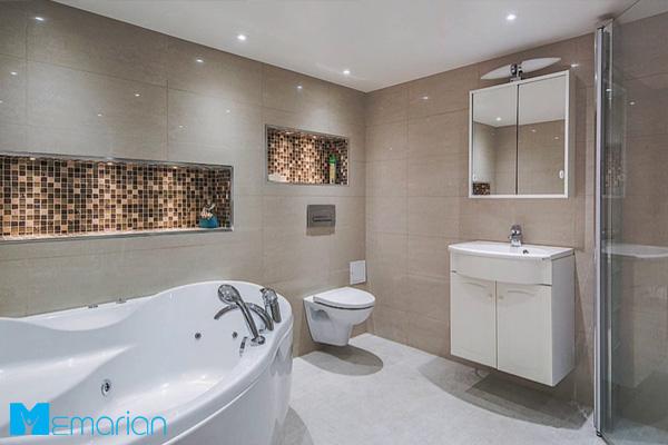 طراحی حمام مدرن با دیوارهای سرامیکی