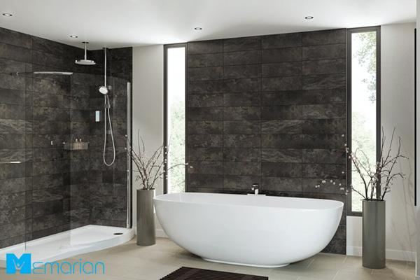 دکوراسیون حمام شیک با دیوار کامپوزیت
