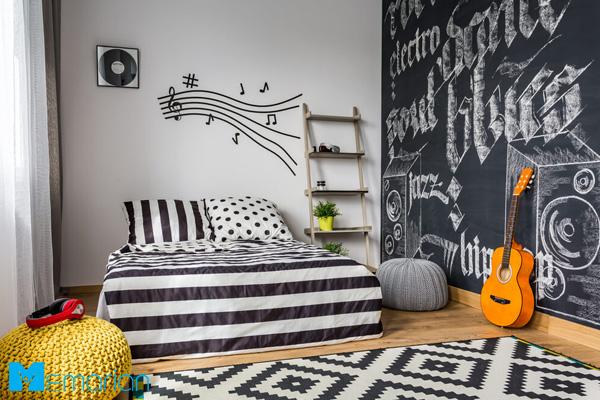 طراحی اتاق نوجوان با دیوار جذاب و خاص