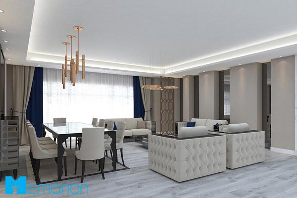 دکوراسیون لوکس آپارتمان با رنگ سفید