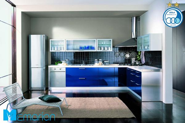 آشپزخانه استقلالی با کابینت های آبی