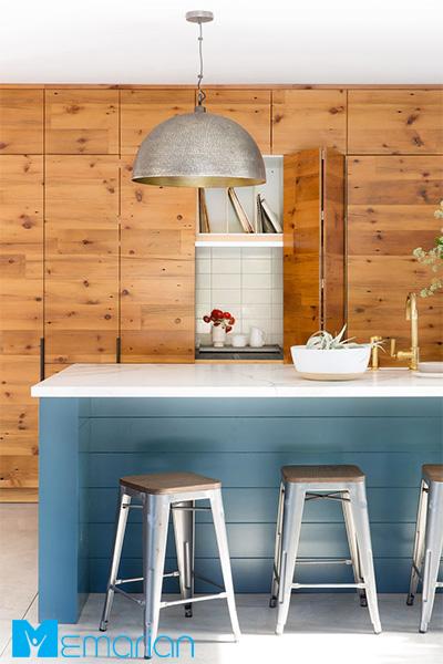 پوشش چوبی روی دیوار آشپزخانه