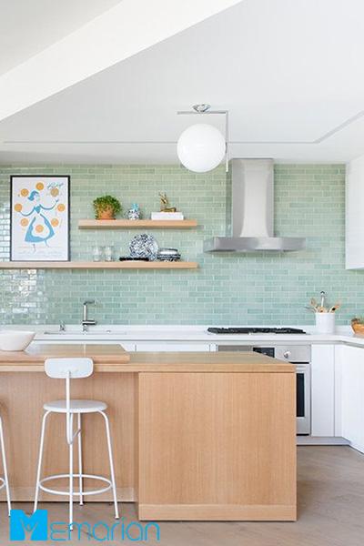 یک رنگ سرگرم کننده را امتحان کنید - کاشی آشپزخانه مدرن