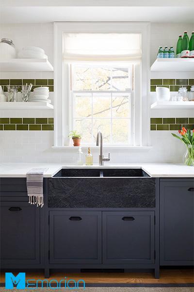 ترکیب رنگ سفید و سبز در آشپزخانه
